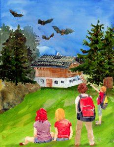 """Fledermäuse auf der Alm (Illustration von C.G. Meinicke aus dem Buch """"Geheimnis um die Wildtiere"""")"""